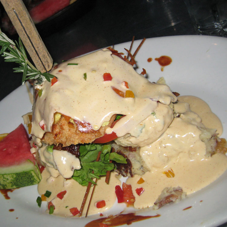 Andy's Sage Fried Chicken Benedict, Hash House a Go Go