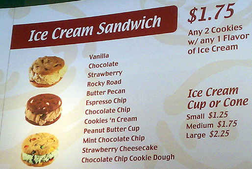 Diddy Riese Menu